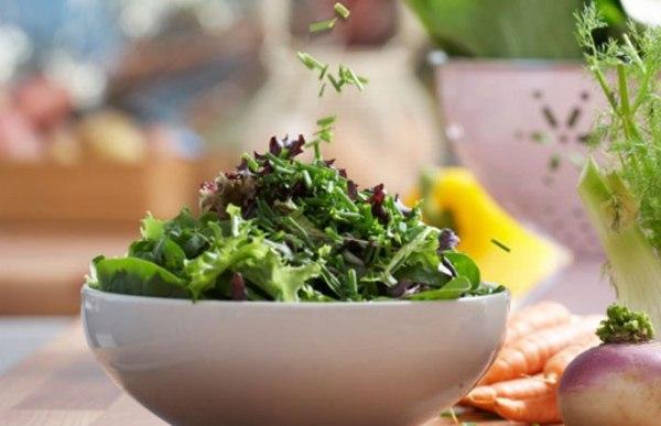 Friss zöld saláta tetejére ejtenek apróra vágott metélőhagymát, a háttérben sárgarépa, édeskömény, paprika és retek.