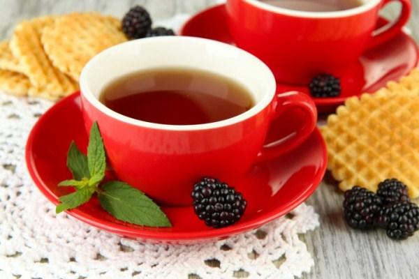 Piros csészében földi szederből készült tea, a csészaljon egy szem szeder és friss levélhajtások.