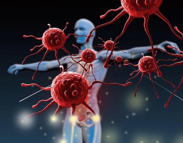Immunrendszert szimbolizáló kép egy emberi testtel és a beférkőzni akaró baktériumokkal.