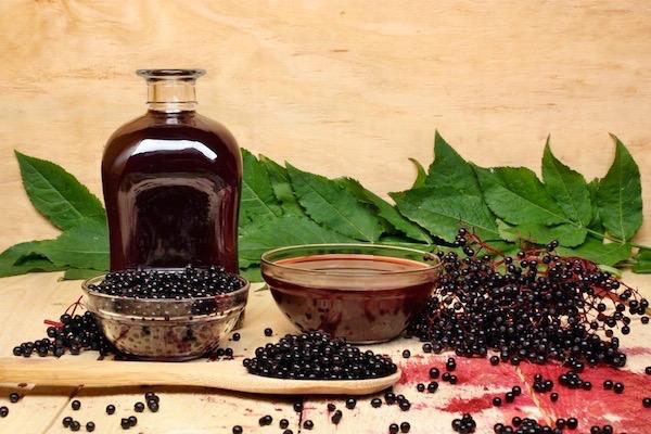 Fekete bodza bogyói és a belőle készült immunerősítő szirup üvegben és tálkában.