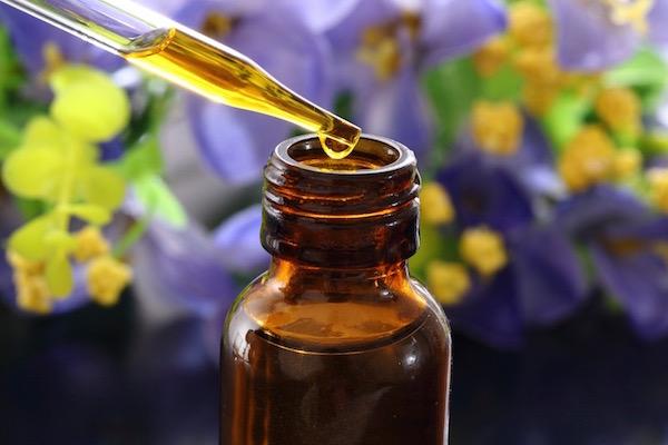 Gyógynövényes tinktúra barna üvegben, fölötte pipettában pár csöpp belőle, a háttérben lila és sárga színű gyógynövények.