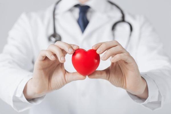Fonendoszkópot viselő orvos egy piros műanyag szívet tart a kezei között.