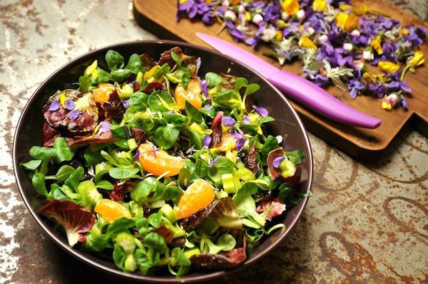 Tavaszi saláta naranccsal és ibolyával díszítve.