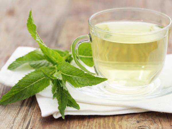 Borsmentából készült gyenge tea, mellette egy friss gyógynövényágacska.