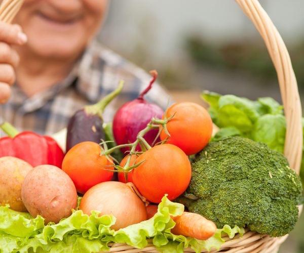 Idő bácsi a kezében tart egy friss zöldségekkel megrakott teli kosarat.