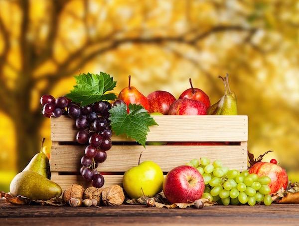 Fa ládikóban őszi gyümölcsök: szőlő, alma, körte, dió.