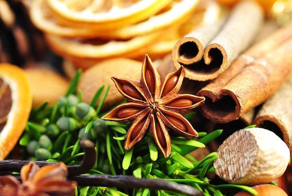Karácsonyi ízek: ánizs, fahéj, narancs, szerecsendió, vanília, friss zöldek.