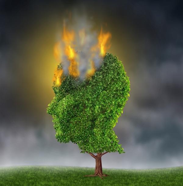 Stressz megjelenítése tűzzel, amely egy emberi fej alakú fa fejéből tör elő.