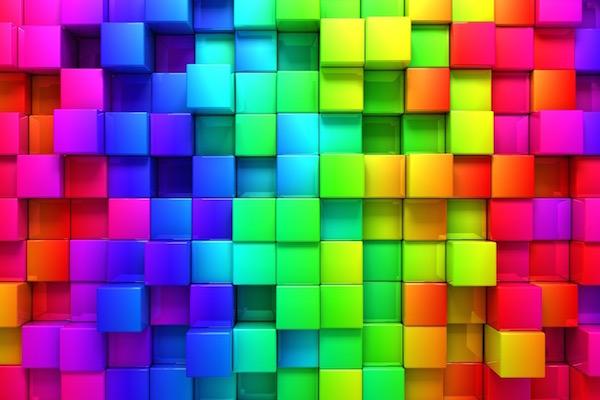 Színterápia színes, térbeli kockákkal.