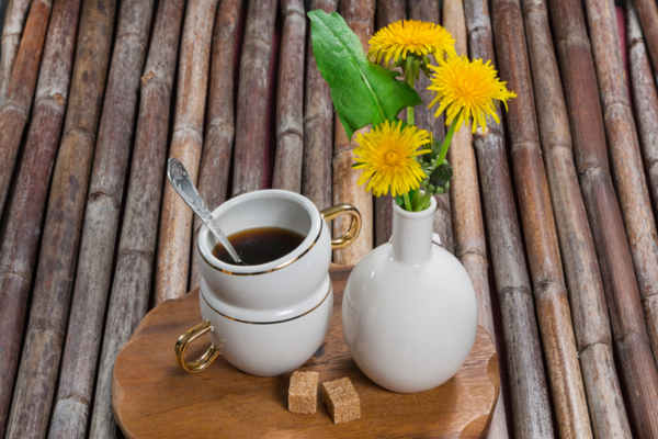 Aranyozott fülű csészében gyermekláncfűkávé, mellette a gyógynövény sárga virágai kis vázában.
