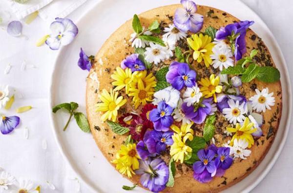 Piskótából készült torta, a tetején ehető virágokkal.