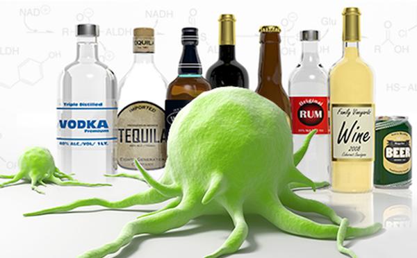 Különféle alkoholos italok, előttük egy óriási zöld tumorsejt.