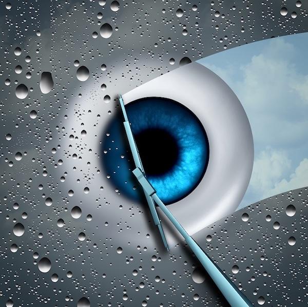 Autós ablaktörlő tisztítja egy stilizált szem előtt a képernyőt.