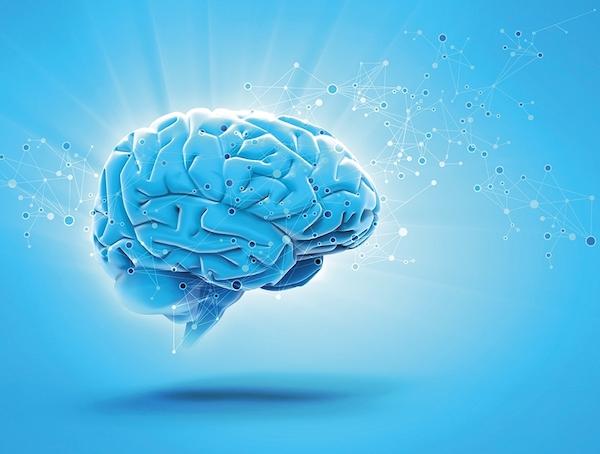 Kék háttér előtt egy emberi agyat ábrázoló makett, mellette mindenféle kémiai kötések.