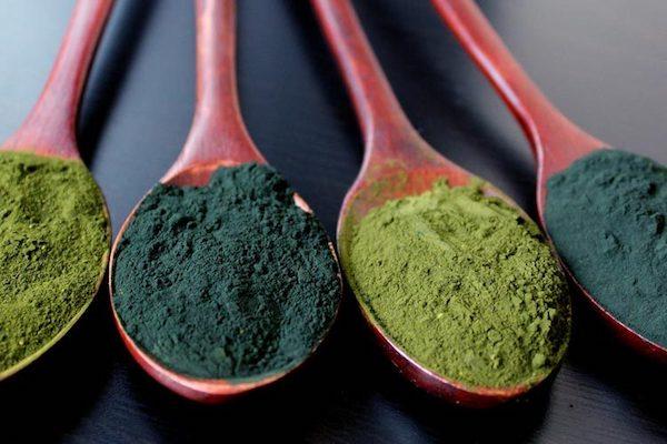 Chlorella és spirulina alga por alakban fakanalakban.
