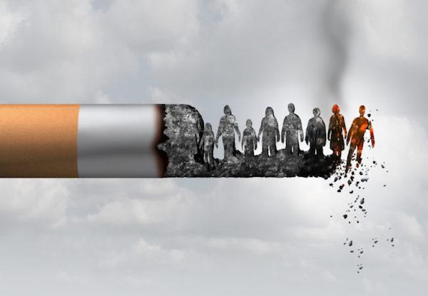 Cigaretta parazsa lehulló emberi formákkal.