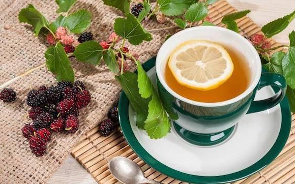 Eperfa leveléből készült tea citromkarikával.