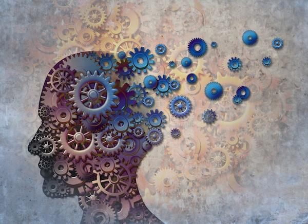 Memória romlásának ábrázolása az ember fejéből kiáramló fogaskerekekkel.