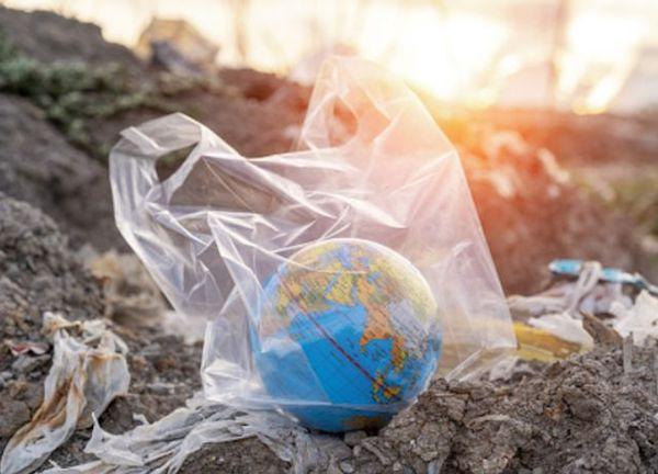 Műanyag zacskóba csomagolt fölgömb a sok hulladék között.