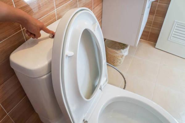 WC lehúzása nyitott fedéllel.