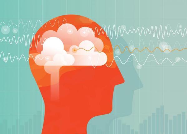 Sematikus ábrázolás: emberi fej tele túlterhelt gondolatokkal.