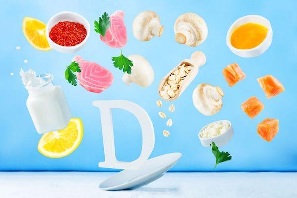 D-vitamint tartalmazó élelmiszerek, tej, hús, hal, gomba, citrom.