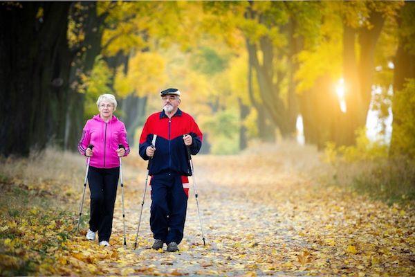 Idős házaspár sétál az erdőben ősszel.