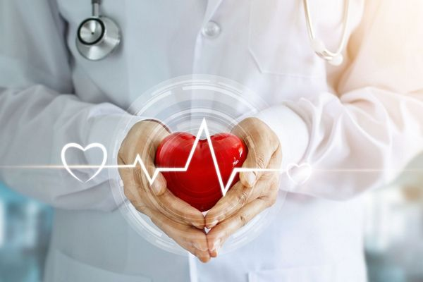 Egy fehér köpenyes orvos kezében egy piros műanyag szívet tart, nyakában fonendoszkóp.