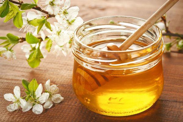 Egy üvegben méz, mellette virágzó gyümölcsfaág.