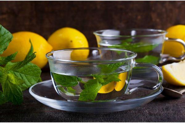 Egy asztalon citromok, citromfűágak, mellette üveg teáscsészében citromfűtea.