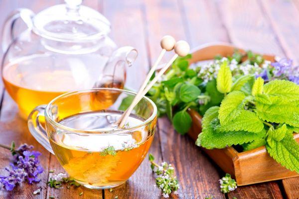 Egy asztalon üveg teáskannában és üveg teáscsészében citromfűből készült gyógytea, mellette egy tálcán citromfű és gyógynövények.