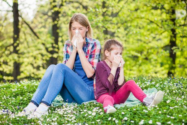 Fiatal lány és egy kislány virágos erdei réten ül, allergia miatt zsebkendőjükbe tüsszentenek és az orrukat fújják.