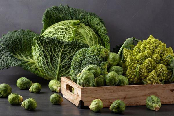 Egy asztalon keresztesvirágú zöldségek, egy fa ládában brokkoli, kelbimbó, pagodakarfiol, mellettük kelbimbók és kelkáposzta.