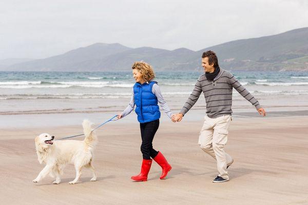Tengerparton egy házaspár a kutyájukkal sétál.