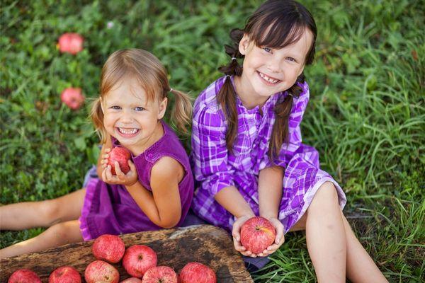 Egy kertben két kislány ül a fűben, kezükben almák, mellettük a fűben és egy tálban almák.