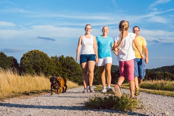 Egy család a természetben sétál, anya, apa két lányával és két kutyával.