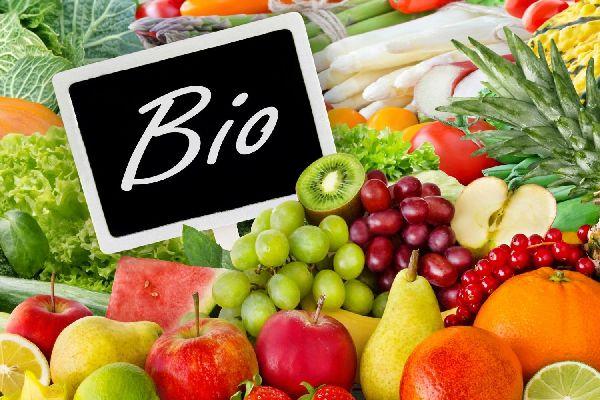 Egy asztalon biozöldségek és biogyümölcsök, almák, szőlő, körték, narancsok, ribizli, ananász, dinnye, egy táblán biofelirat.