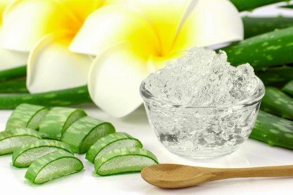 Antioxidánsokban gazdag Aloe vera szeletek egy asztalon, Aloe vera gél egy üveg tálban, előtte fakanál.