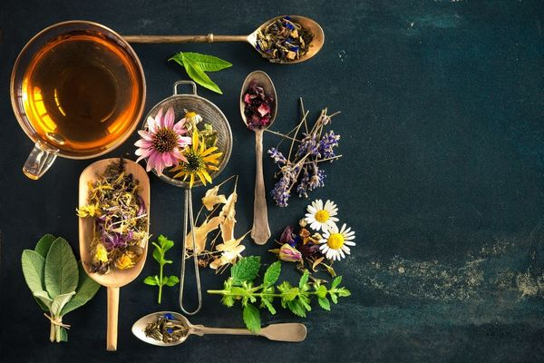 Egy sötét szürke asztalon szorongás oldására hasznos gyógynövények, kamilla, levendula, citromfű, és egy üveg csészében gyógytea.