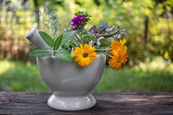 Egy asztalon egy mozsárban gyógynövények, körömvirágok, zsálya, levendula.